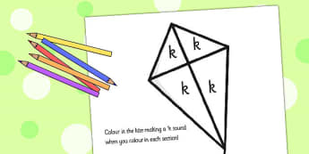 k Sound Production Kite Colouring Sheet - k sound, colouring
