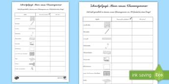 Mein neues Klassenzimmer: Schnitzeljagd Arbeitsblatt - Schnitzeljagd, neue Klasse, neues Schuljahr, Schuljahresbeginn, Schuljahresanfang, erster Schultag,