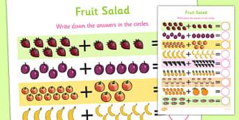 Fruit Salad Up to 20 Addition Sheet - olivers fruit salad, fruit salad, 20, addition, sheet, add