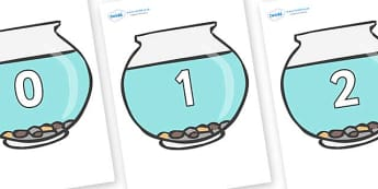 Numbers 0-31 on Fish Bowls - 0-31, foundation stage numeracy, Number recognition, Number flashcards, counting, number frieze, Display numbers, number posters