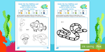 Under the Sea Themed 0-10 Addition and Subtraction Puzzle English/Romanian - Under the Sea Themed Addition and Subtraction Puzzle 0-10 - under the sea, under the sea numeracy pu