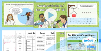 PlanIt Y4 Term 2B W1: Words with the /s/ sound spelt with sc Spelling Pack - Spellings Year 4, Y4, SPaG, GPS, spelling, long s, s, weekly, weeks, lists, spell, words,