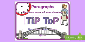 TiP ToP Paragraphs Display Poster - CfE Literacy, paragraphs, display poster, TiPToP,Scottish