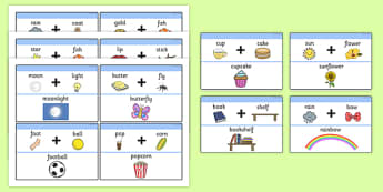 Compound Word Matching Game - Compound Words, compound word activities, matching game, word game, literacy game, compund and complex explanations