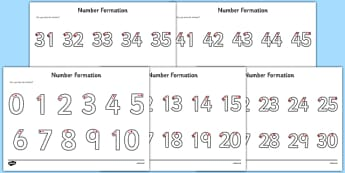 Number Formation Activity Sheets Pack - number formation, activity sheet, activity, number, formation, pack, worksheet