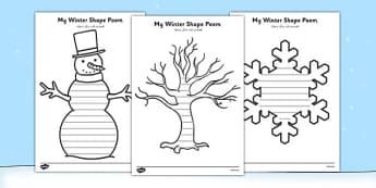 Winter Shape Poetry Arabic Translation - arabic, winter poetry, winter, poetry, winter shapes, christmas, writing frames, writing templates, templates, writing, creative writing, literacy