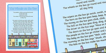 The Wheels on the Bus Nursery Rhyme Large Display Poster - rhymes, display, wheels onthe bus