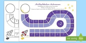 Multiplikation Autorennen Brettspiel - Multiplikation, Autorennen, Mathe, Spiel, multiplication, maths, game,German