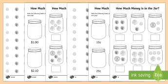 How Much Money is in My Money Jar? Activity Sheet - money, financial mathematics, australian currency, F-2, Kindy maths, kindergarten, year 1,Australia
