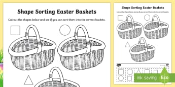 Shape Sorting Easter Baskets Activity Sheet - CfE Early Level Easter Themed Maths Activities, colour, shape, sorting, shapes, 2D shape