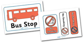 Bus Station Role Play Bus Stop Sign - Bus role play, transport, bus stop sign, bus stop, sign, signs, banner, role play, buses, bus station, ticket