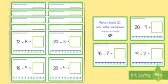 Tarjetas de desafío: Restas desde 20 con recta numérica - recta numérica, desafío, tarjetas, restar, restas, sustracción, mates, matemáticas, operaciones,