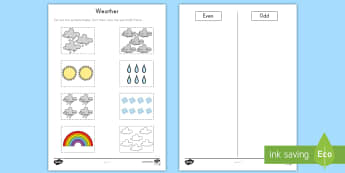 Weather-Themed Number Sorting Activity Sheet - weather, even, odd, count, numbers, symbols, match, number, worksheet