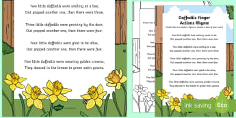 Daffodils Finger Actions Rhyme - Signs Spring, Daffodils, Sun, Flowers, Butterflies, Bees, Rain, Seasons, Weather