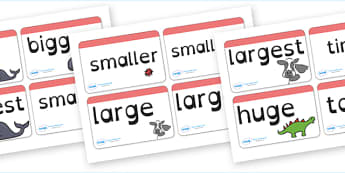 Size Word Cards Dyslexia - size word cards, size words, size word cards in dyslexia font, comparatives and superlatives word cards in dyslexic font, sen