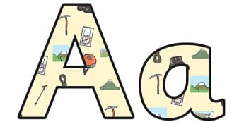 Mountains Small Lowercase Display Lettering - mountains, mountains display lettering, mountains display letters, mountains themed alphabet letters, geography ks2