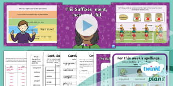 PlanIt English Y2 Term 3A W1: The Suffixes -ment -ness and -ful Spelling Pack - Spellings Year 2, Term 3A, Week 1, suffixes, ment, ness, ful