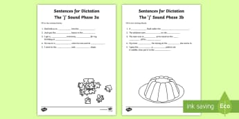 Northern Ireland Linguistic Phonics Stage 5 and 6, Phase 3a and Phase 3b, 'j' Dictation Sentences Activity - Linguistic Phonics, Stage 5, Stage 6, Phase 3a, Phase 3b, Northern Ireland, sentences, dictation, wo