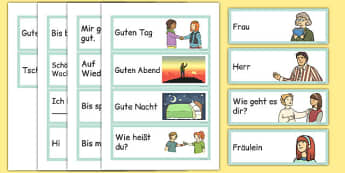 Greetings Flashcards German - german, greetings, flashcards, flash cards