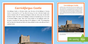 Carrickfergus Castle A4 Display Poster - castle, history, Norman, John De Courcy, County Down, Northern Ireland, medieval, knights, Dundrum c