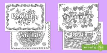 Kolorowanki antystresowe Miłe słowa - kolorowanka, relaksacyjna, stres, terapia, terapeutyczne, dorośli, pokoloruj, Polish