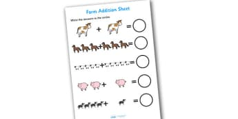 Farm Addition Sheet - farm themed, addition sheet, addition, addition worksheet, farm themed worksheet, farm themed addition sheet