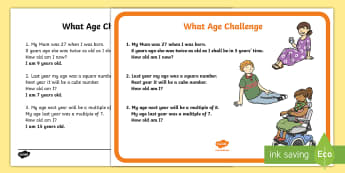 What Age Maths Challenge A4 Display Posters - challenge, poster