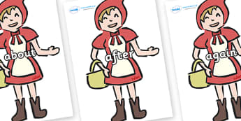 KS1 Keywords on Little Red Riding Hood - KS1, CLL, Communication language and literacy, Display, Key words, high frequency words, foundation stage literacy, DfES Letters and Sounds, Letters and Sounds, spelling