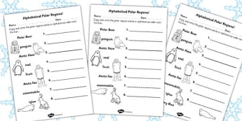 Polar Regions Alphabet Ordering Worksheet - worksheets, letters