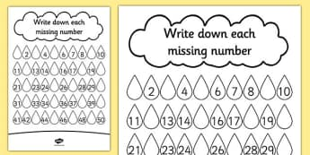 Raindrop Missing Number Activity Sheet - missing, number, rain, worksheet
