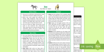 Zoo Fact Sheet for Adults - EYFS, Early Years, KS1, Understanding the World, exploration, discovery, finding out, facts, information, zoo, animals