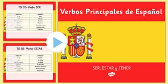 Powerpoint Verbos Ser, Estar y Tener en presente simple en español - spanish, Grammar, gram