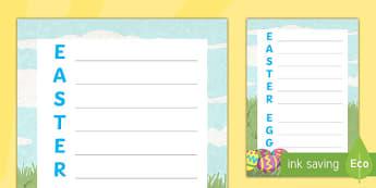 Easter Egg Acrostic Poem - KS1 & 2 Easter 2017 (16th April), easter, acrostic