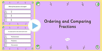 Ordering and Comparing Fractions PowerPoint Quiz - fractions
