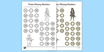Missing Numbers to 20 Activity Sheet, worksheet