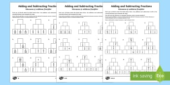 Adding and Subtracting Fractions Activity Sheet - English/Romanian - fractions, adding fractions, add fractions, total, subtracting fractions, subtract fractions, take a