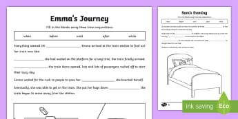 KS2 Time Conjunctions Cloze Differentiated Activity Sheets - time conjunctions, time connectives, conjunctions, connectives, cloze, fill in the gaps, fill in the