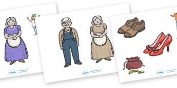The Elves and the Shoemaker Story Cut-Outs - Traditional tale, tales, elves, elf, shoemaker, sequencing, cut out, cut outs, cutting, story resources, story book, wife, stitch, leather, danced, shirt, needle, thread, socks, trousers, shoes, workshop,