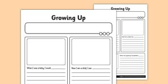 Growing Up Activity Sheet - human growth, human life cycle, growing up, worksheet