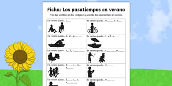 summer, spanish, vocabulary, practise, practice, worksheet