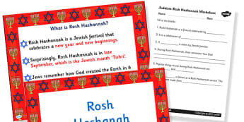 Judaism Rosh Hashanah Information PowerPoint and Worksheet - judaism, rosh hashanah, information, worksheet, judaism powerpoint, rosh hashanah powerpoint, judiasm