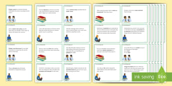 Reading Challenge Cards - secondary, novel, extract, infer, character, setting