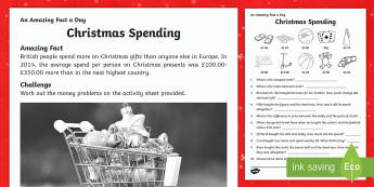 Christmas Spending Activity Sheet - Amazing Fact Of The Day, activity sheets, powerpoint, starter, morning activity, December, money, co