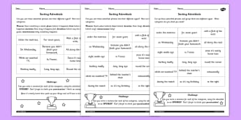 Sort the Adverbials Differentiated Activity Worksheet - worksheet