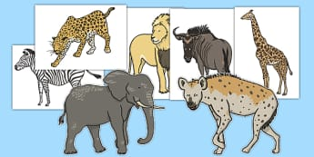 African Animals A4 Cut-Outs - african, animals, cut outs, cut