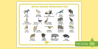 African Animals Word Mat English/German - Africa, animals, Safari,  EAL, German, learning German,German-translation