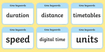 CfE Second Level Numeracy and Mathematics Time Keyword Flashcards - Wall Display, keywords, MNU 2-10a, MNU 2-10b, MNU 2-10c language of maths, vocabulary, word wall,Sco