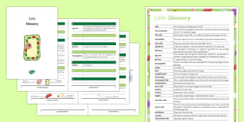 Cells Glossary - Glossary, cells, nerve cells, sperm cell, palisade cell, microscope, poster