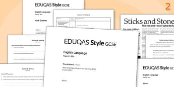 GCSE English Language Exam Paper 2 EDUQAS - gcse, english, language, exam