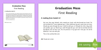 Graduation Mass First Reading Print-Out - mass, graduation, reading, bible story, sixth class, grad,Irish